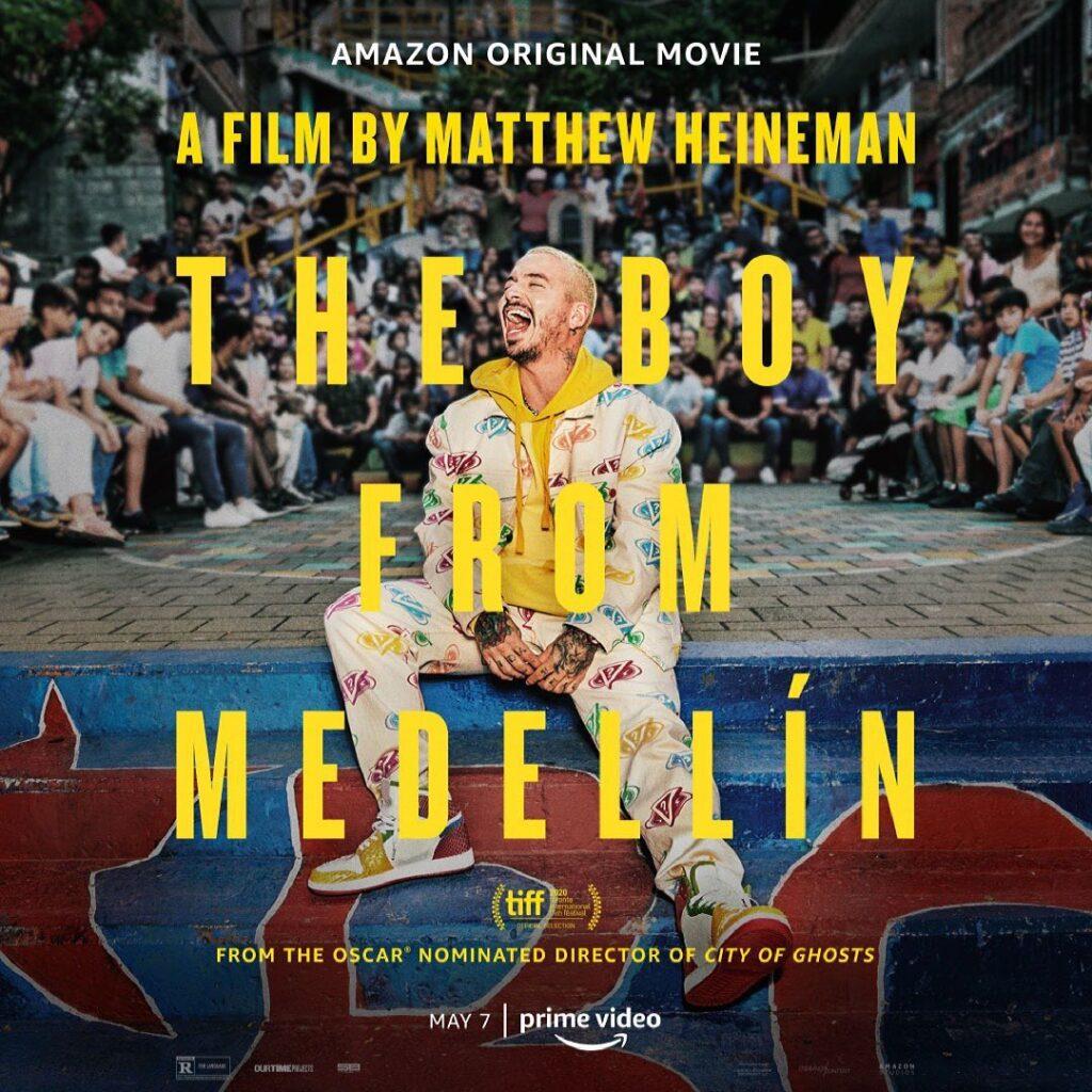"La locandina del docufilm ""The Boy from Medellin"" pubblicata da @jbalvin su Instagram. (The Copyright is believed to belong to the Amazon Studios and its graphic designers.)"